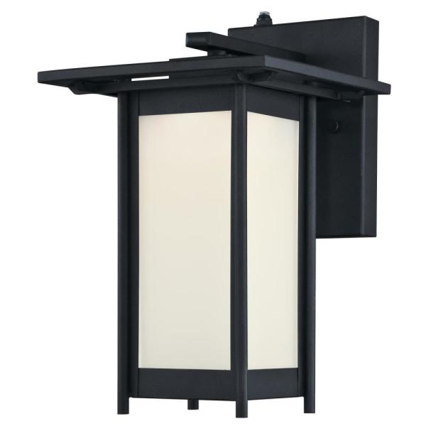 Clarissa LED 1-Light Textured Black Outdoor Integrated LED Wall Lantern Sconce with Dusk to Dawn Sensor