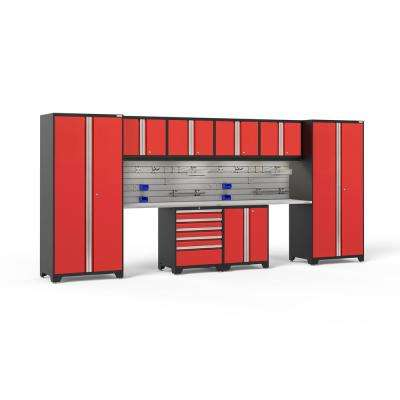Pro Series 3.0 85.25 in. H x 184 in. W x 24 in. D 18-Gauge Steel Cabinet Set in Red (10-Piece)