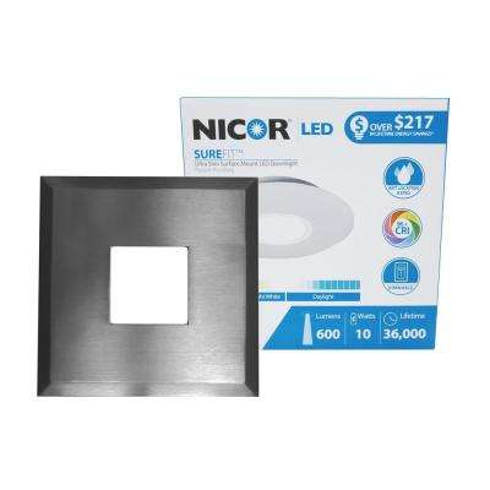 SureFit 9.6-Watt Square Nickel Integrated LED Flush Mount with 3000K