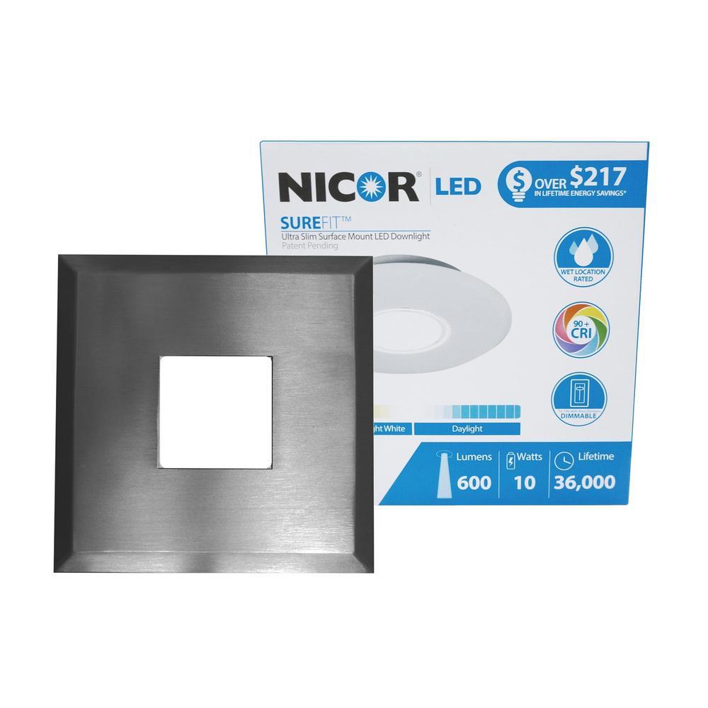 SureFit 9.6-Watt Square Nickel Integrated LED Flush Mount with 5000K