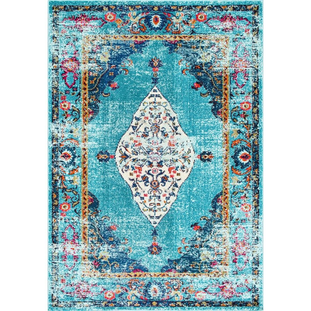 NuLOOM Vintage Medallion Veronica Aqua 7 Ft. 10 In. X 11