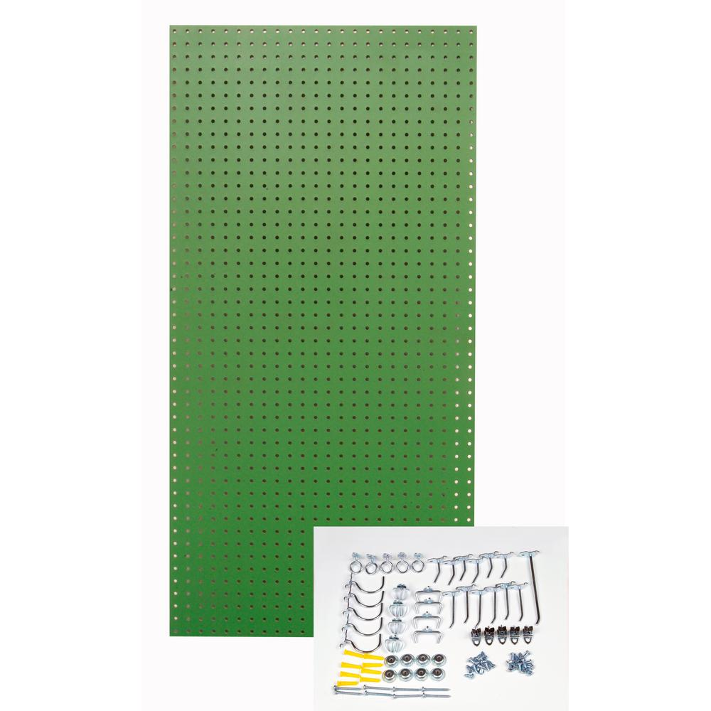 Triton 1/4 in. Custom Painted Tractor Green Pegboard Wall Organizer with 36-Piece Locking Hooks