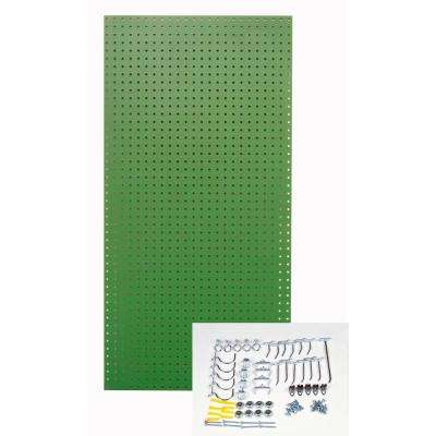 1/4 in. Custom Painted Tractor Green Pegboard Wall Organizer with 36-Piece Locking Hooks