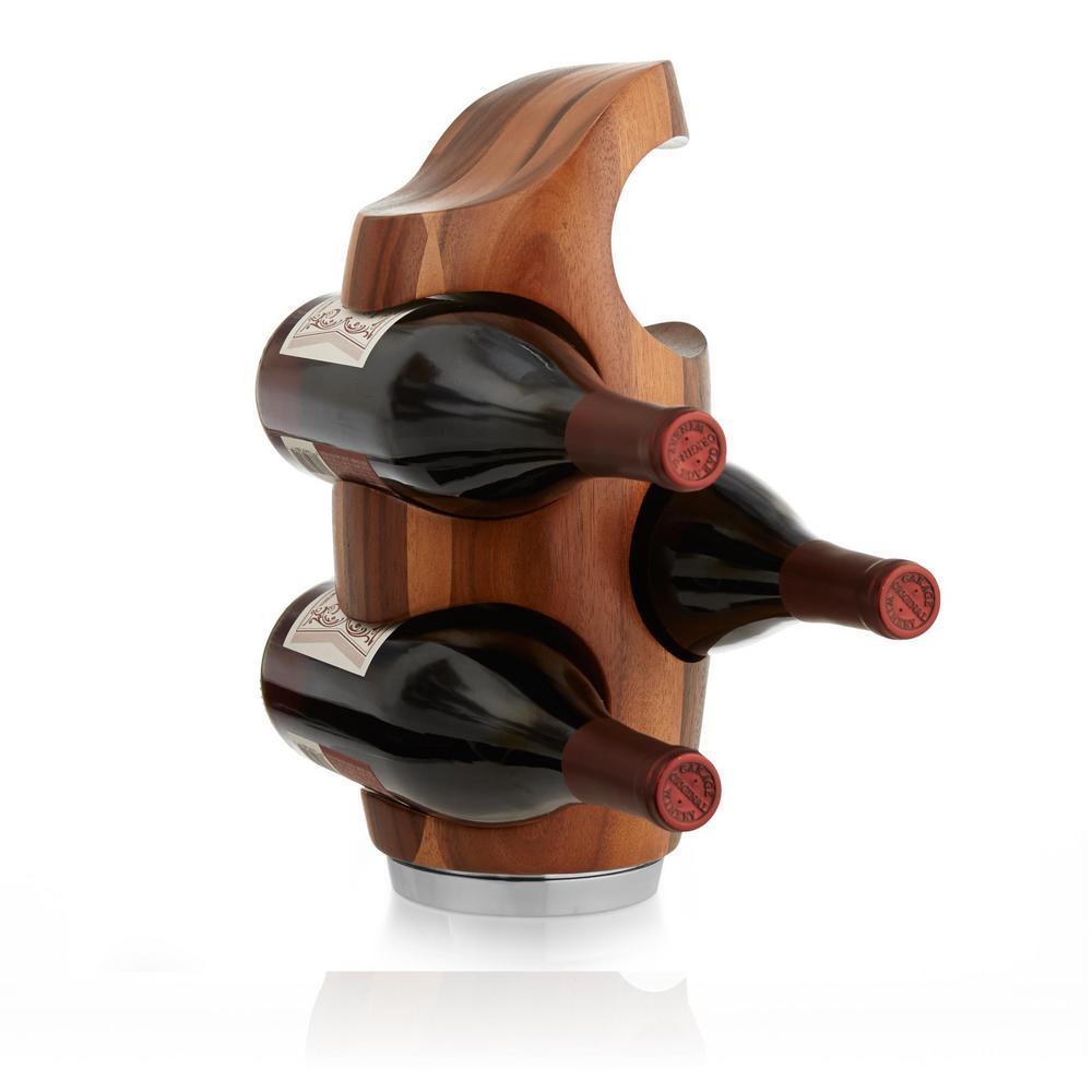 Vie 4-Bottle Wood Vertical Wine Rack