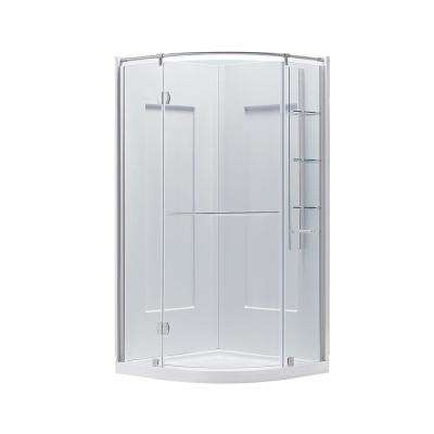 Glamour 37.68 in. x 76.40 in. 2-piece Direct-to-Stud Corner Shower Wall Set in White