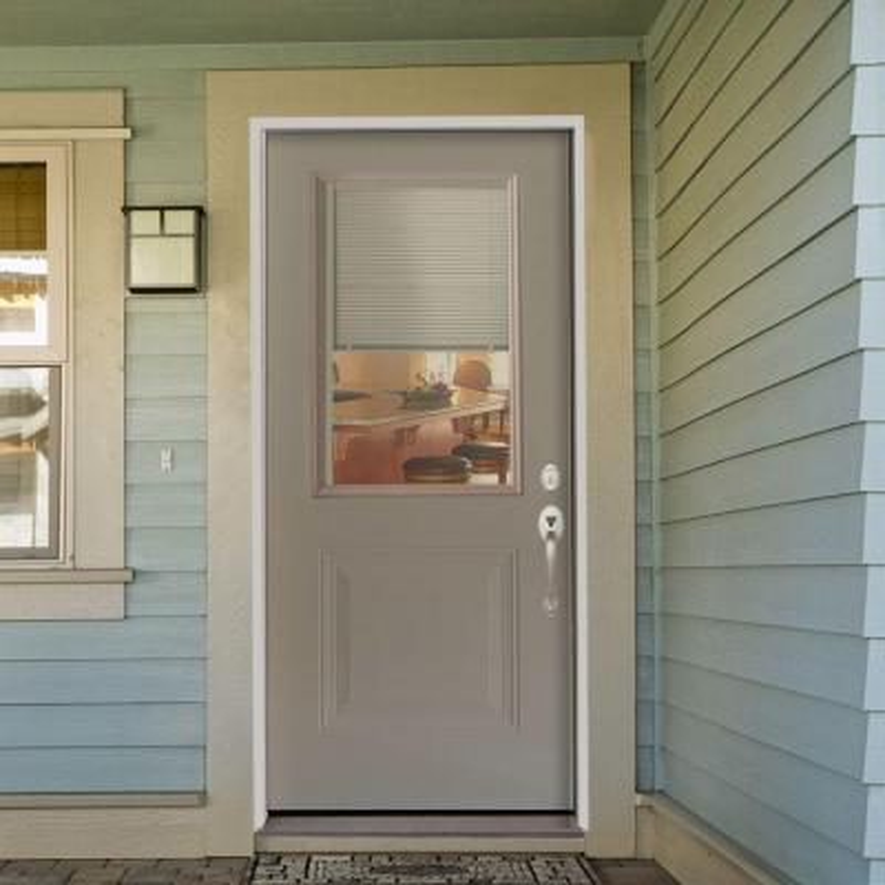 1-Panel 1/2 Lite Mini-Blind Primed White Steel Prehung Front Door
