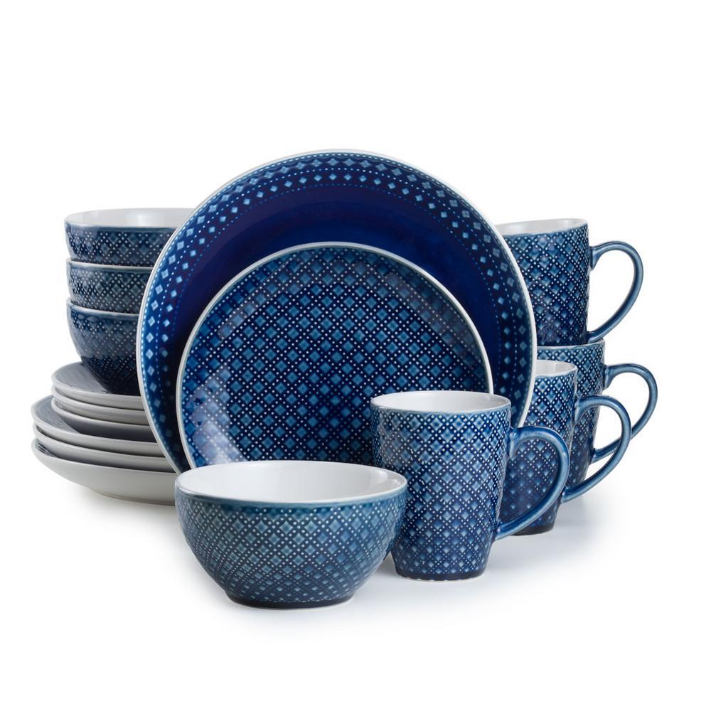 Palma 16-Piece Blue Dinnerware Set by