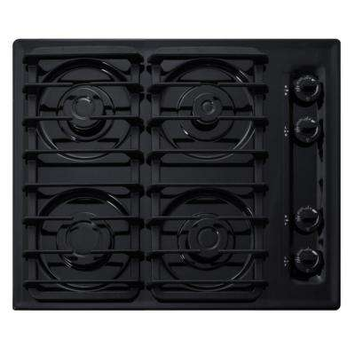 24 in. Gas Cooktop in Black with 4 Burners