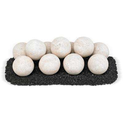 18 in. x 6 in. Cottage White Uni M Set, 11-4 in. Lite Stone Balls with 5 lbs. Small Lava Rock