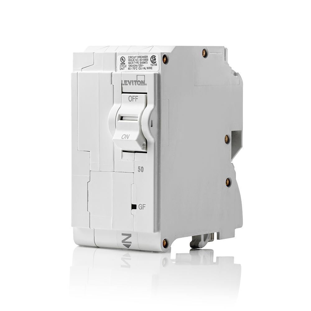 Branch Circuit Breaker, GFCI 2-Pole 50 Amp, 120-Volt/240-Volt, Hydraulic Magnetic