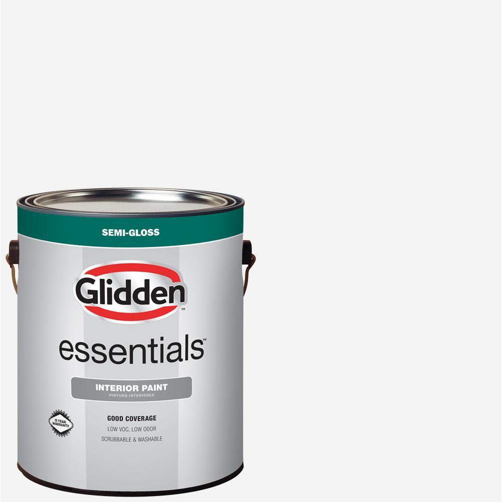 Glidden Essentials 1 Gal White Semi Gloss Interior Paint Gle 3000 01 The Home Depot