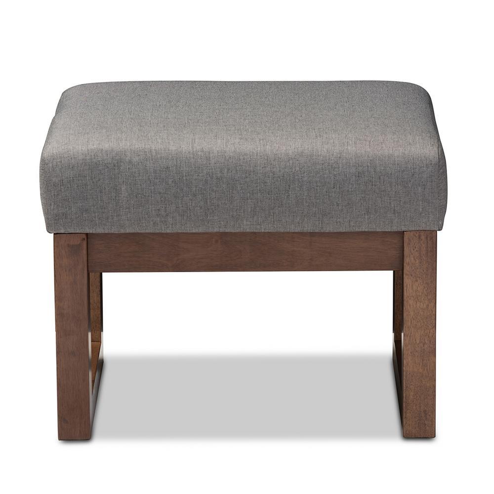 Yashiya Mid-Century Gray Fabric Upholstered Ottoman