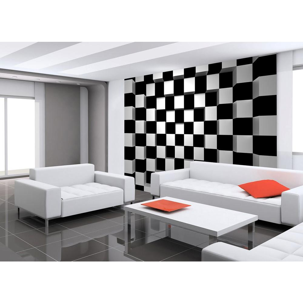 Ideal decor 144 in w x 100 in h black and white squares for Black wall mural