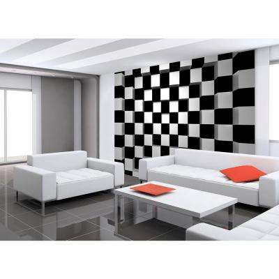 144 in. W x 100 in. H Black and White Squares Wall Mural