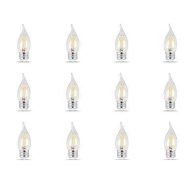 40-Watt Equivalent (5000K) CA10 Dimmable Filament LED Clear Glass Light Bulb, Daylight (12-Pack)
