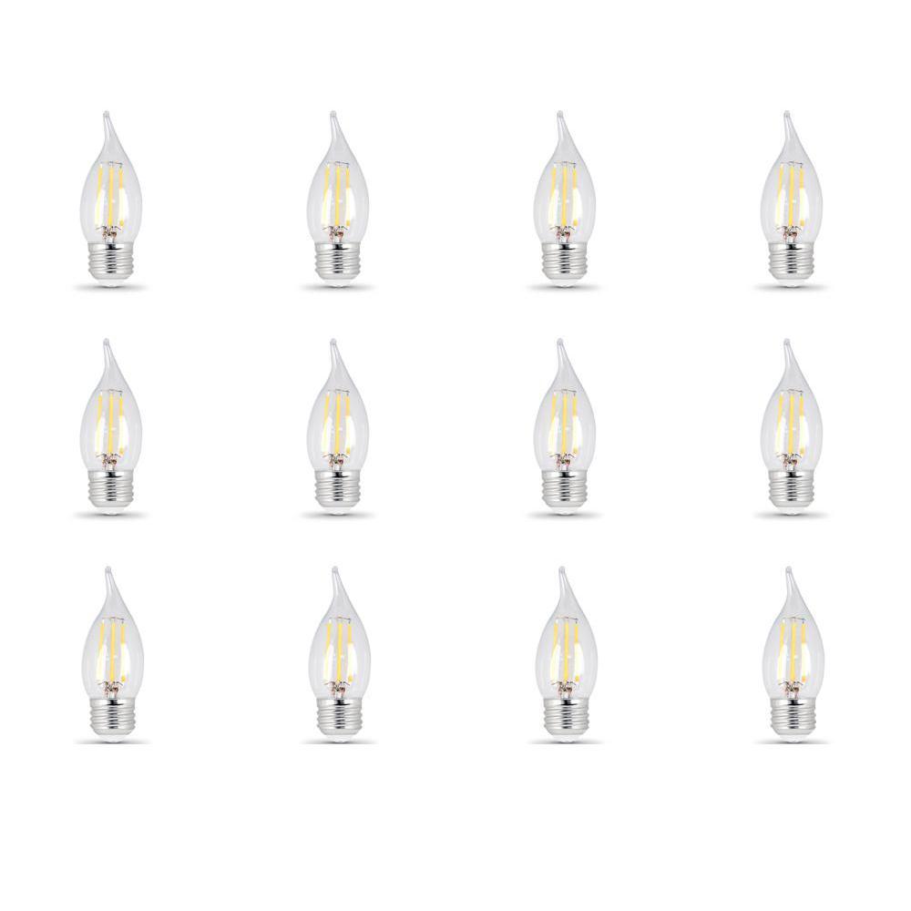 40-Watt Equivalent (5000K) CA10 Dimmable Filament LED Clear Glass Light Bulb, Daylight (12-Pack)