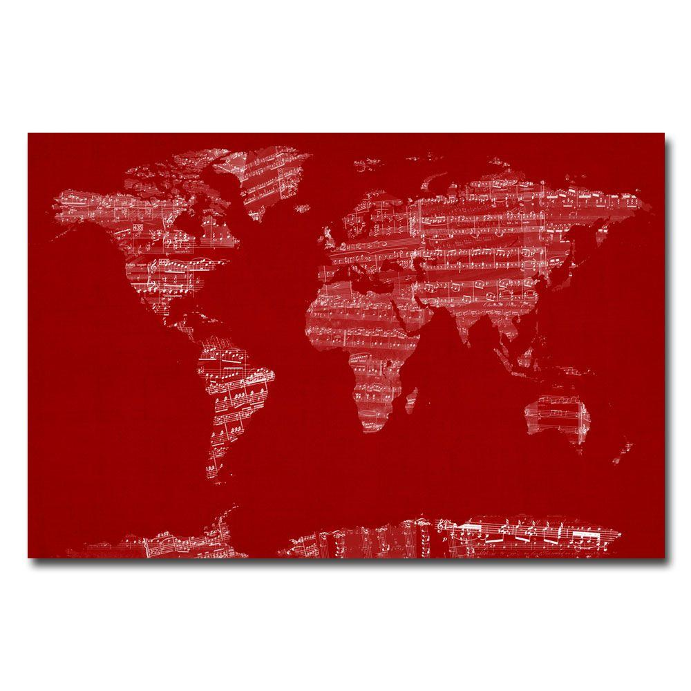 16 in. x 24 in. Sheet Music World Map Canvas Art