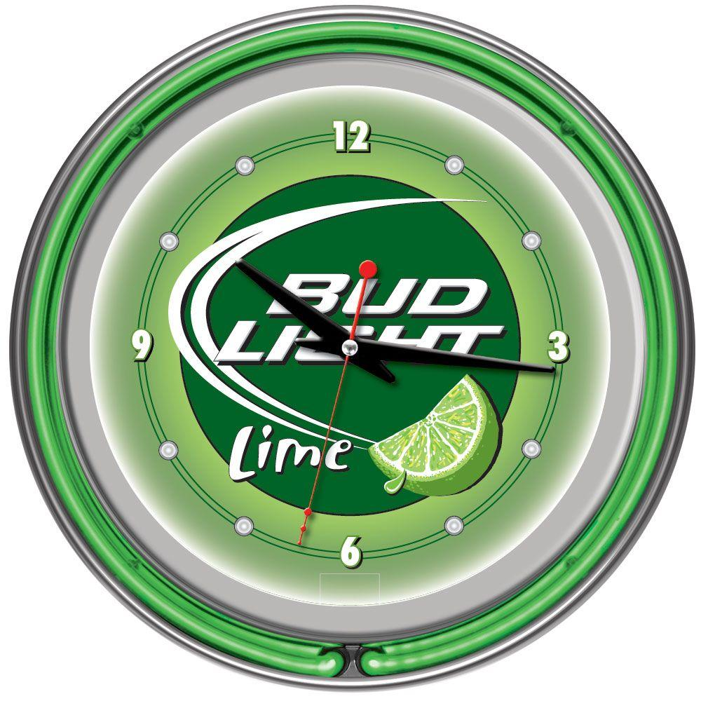 Trademark Global 14 in. Bud Light Lime Neon Wall Clock