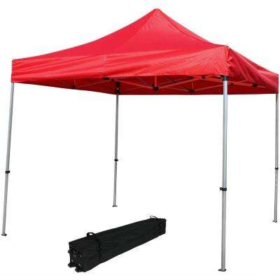 10 ft. x 10 ft. Red Heavy-Duty Aluminum Straight Leg Quick Up Canopy with Rolling Bag
