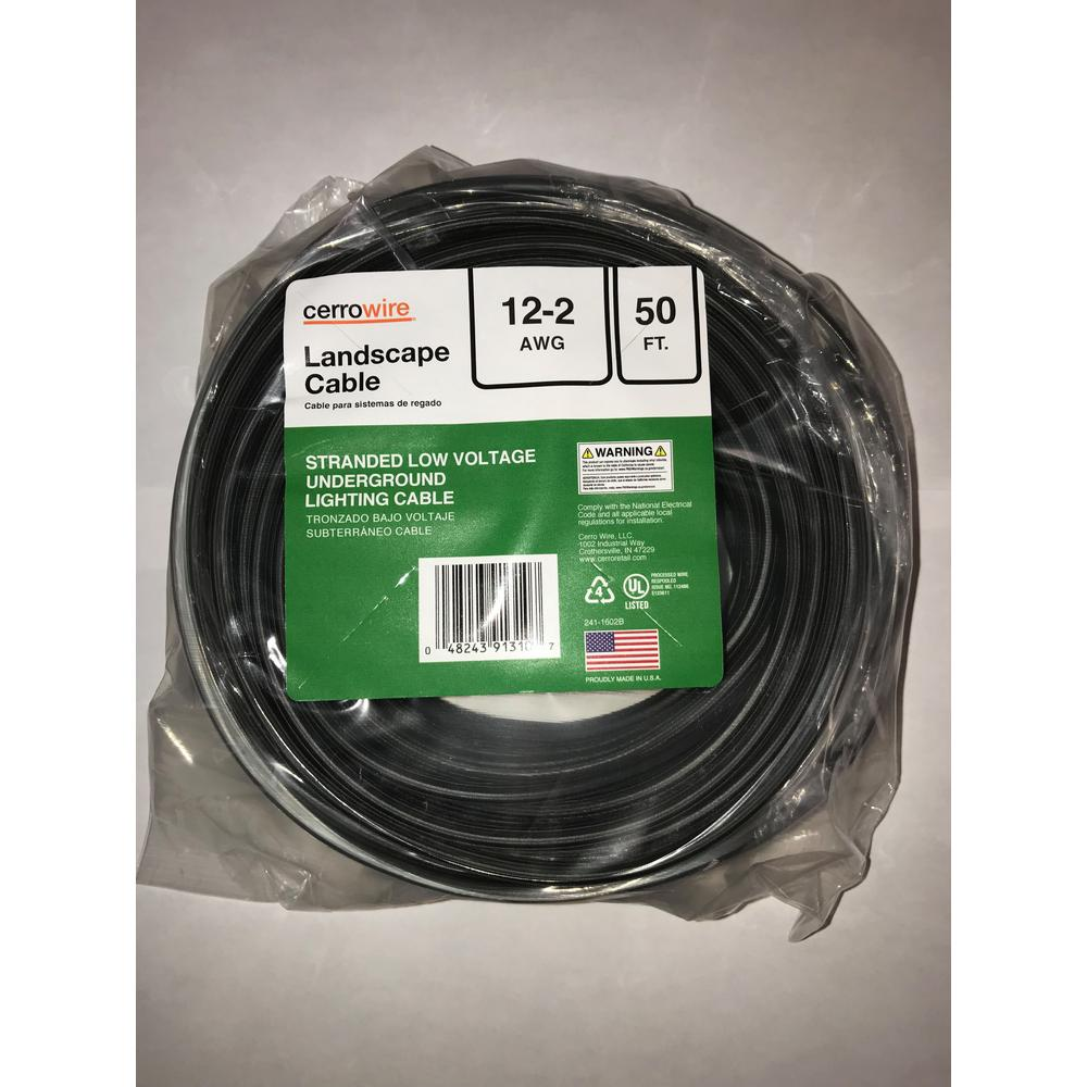 Cerrowire 50 ft. 12/2 Black Stranded Landscape Lighting Wire on