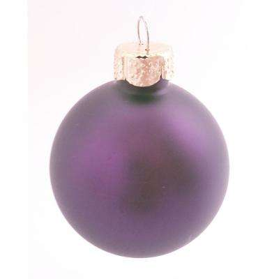 2.75 in. Purple Matte Glass Christmas Ornaments (12-Pack)