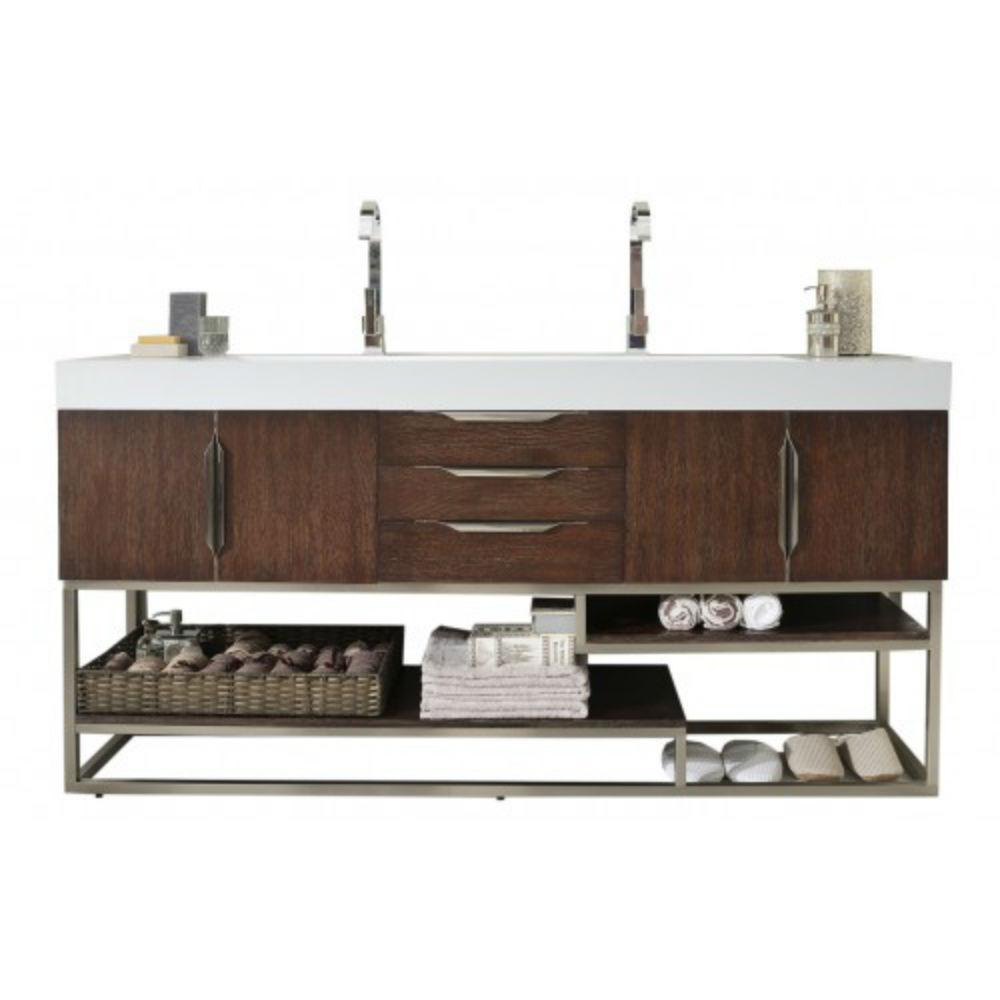 James Martin Signature Vanities Columbia 72 In W Double Vanity In Coffee Oak With Solid Surface