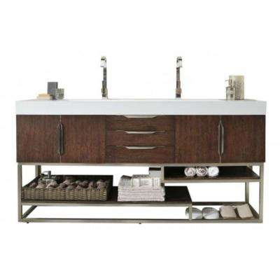 Columbia 72 in. W Double Vanity in Coffee Oak with Solid Surface Vanity Top in White with White Basin
