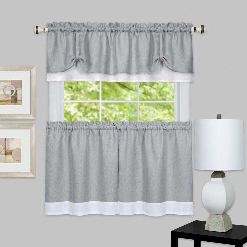 Achim Darcy Grey/White Polyester Tier and Valance Curtain Set - 58 in. W x 36 in. L