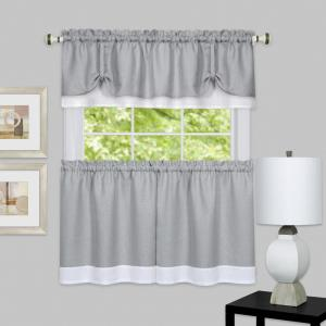 Achim Darcy Grey/White Polyester Tier and Valance Curtain Set - 58 inch W x 36 inch L by Achim