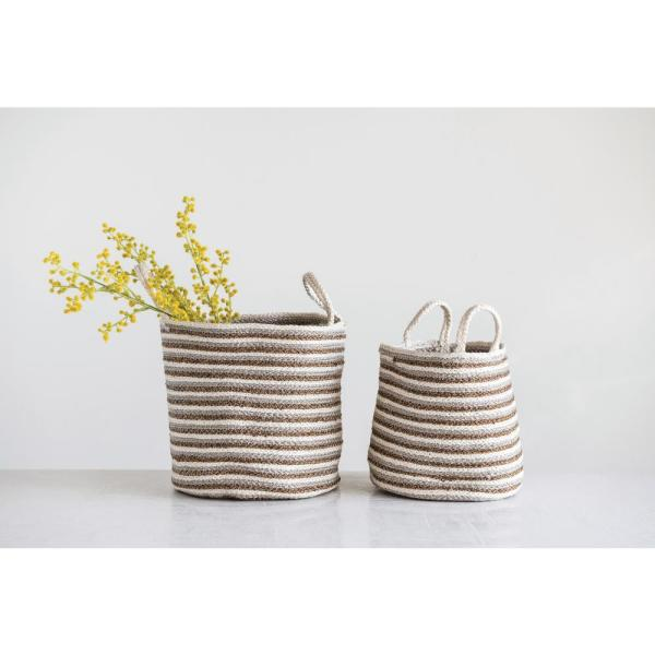 3R Studios - Cotton and Jute Braided Decorative Baskets (Set of 2)