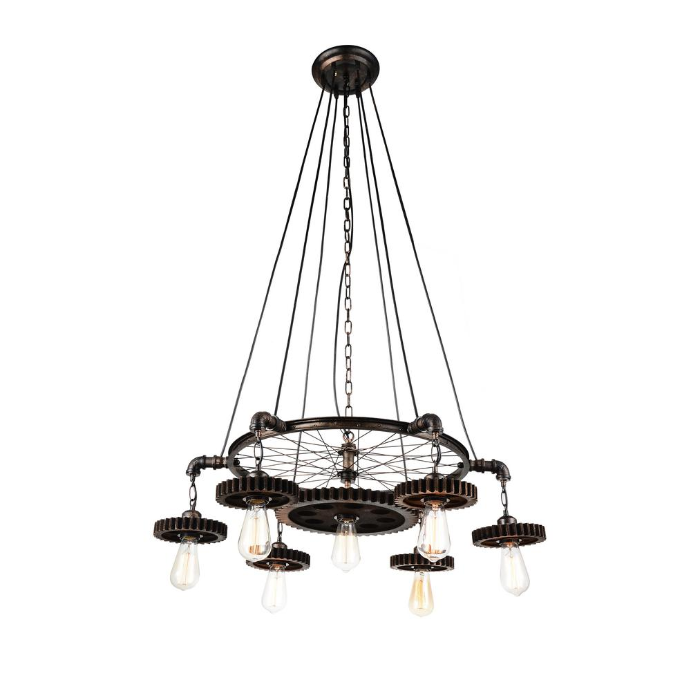 Prado 7 light blackened copper chandelier 9723p35 7 211 the home prado 7 light blackened copper chandelier aloadofball Gallery