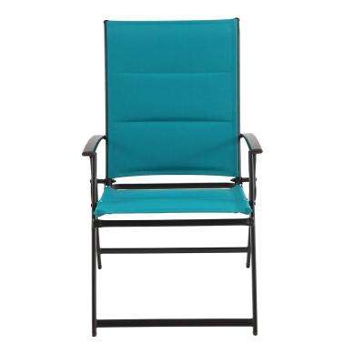 Mix and Match Folding Steel Outdoor Dining Chair in Emerald Coast Sling (2-Pack)