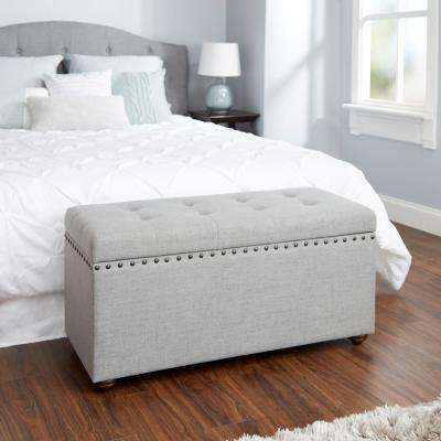 Penelope Nail Head Silver Storage Bench