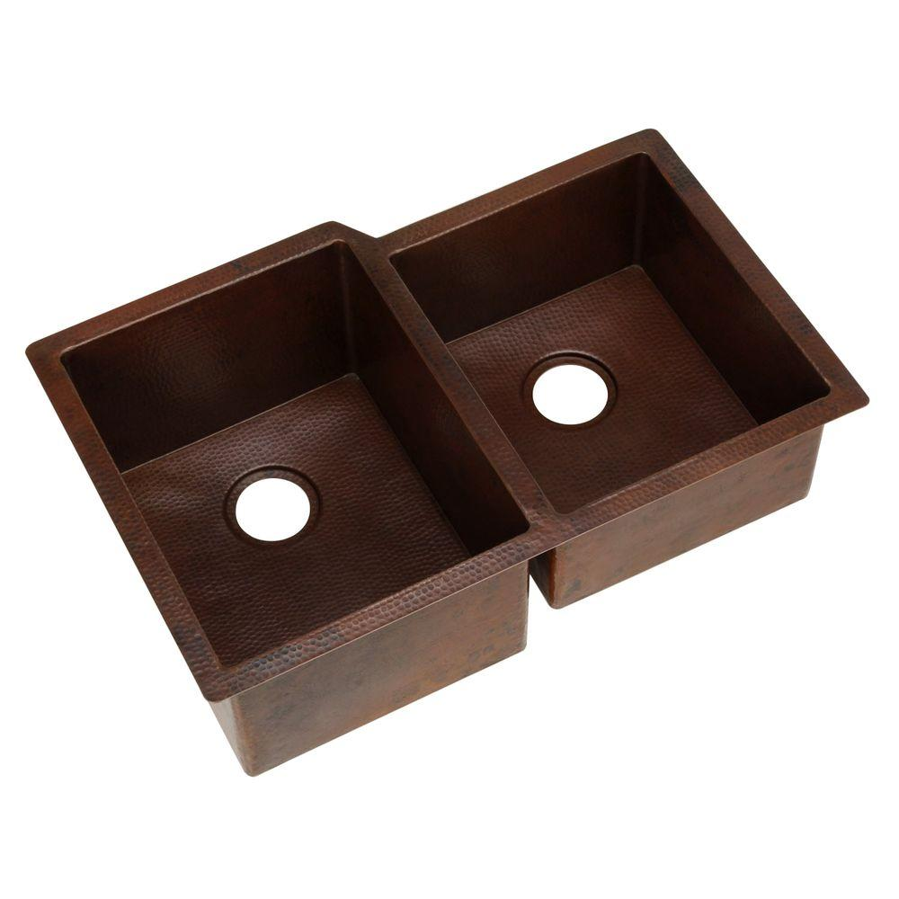 SINKOLOGY Pinnacle Undermount Handmade Pure Solid Copper 31 in. 0-Hole 60/40 Double Basin Copper Kitchen Sink