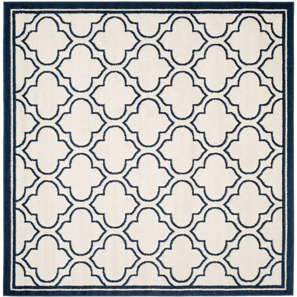 Safavieh Amherst Ivory/Navy 7 ft. x 7 ft. Indoor/Outdoor Square Area Rug