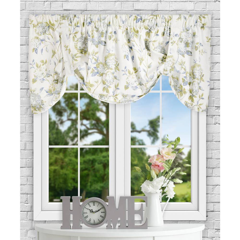 Ellis Curtain Abigail 22 in. L Polyester/Cotton Tie-Up Valance in Porcelain