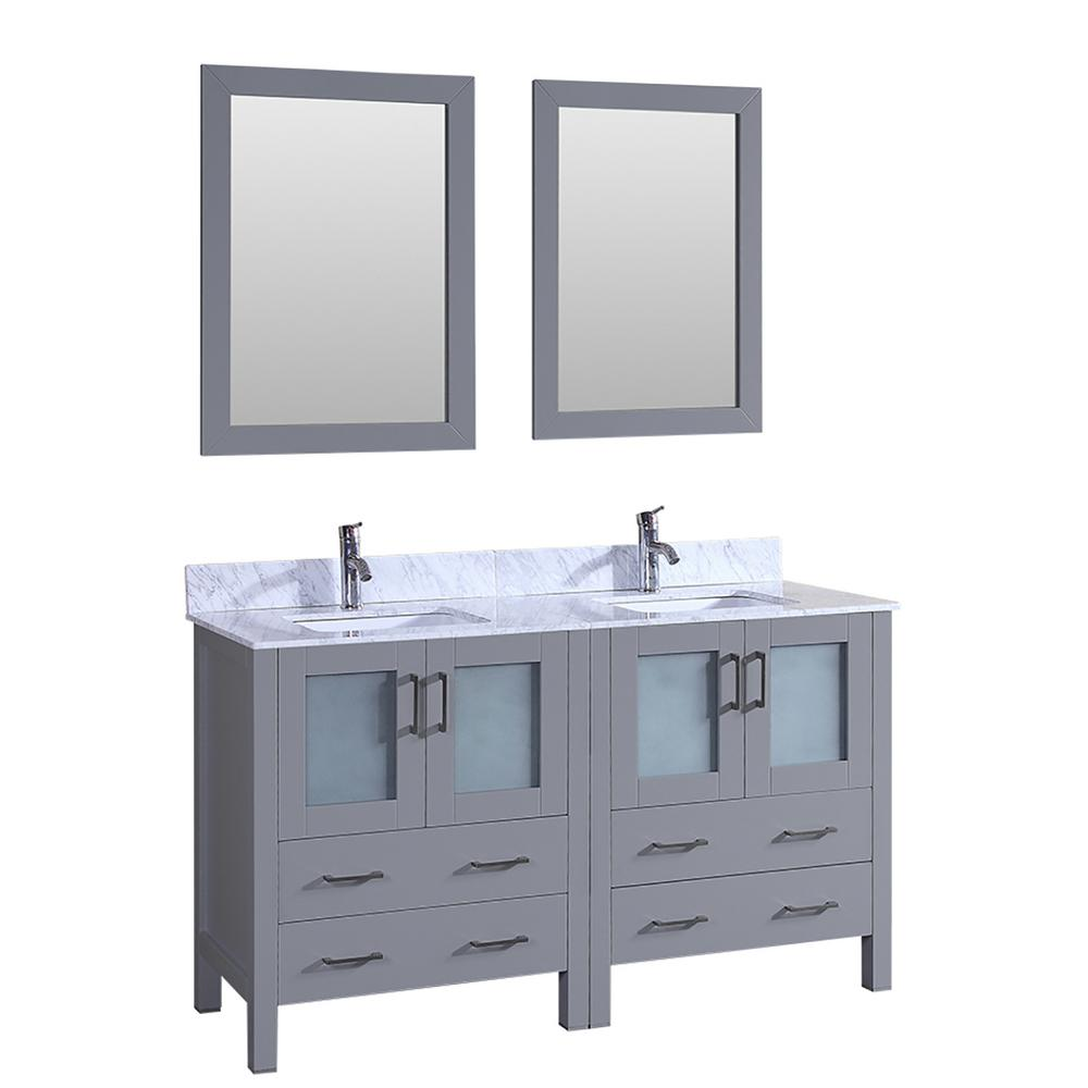 60 in. W Double Bath Vanity with Carrara Marble Vanity Top