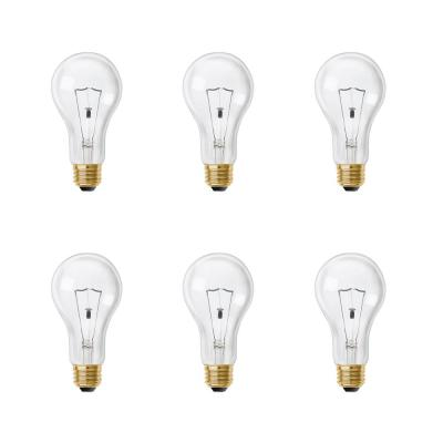 200-Watt High Lumen Clear A21 Medium E26 Soft White (2700K) Utility Incandescent Light Bulb (6-Pack)