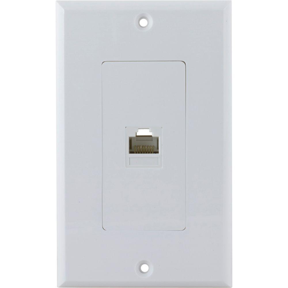 GE UltraPro 1 Ethernet RJ45 Wall Plate - White