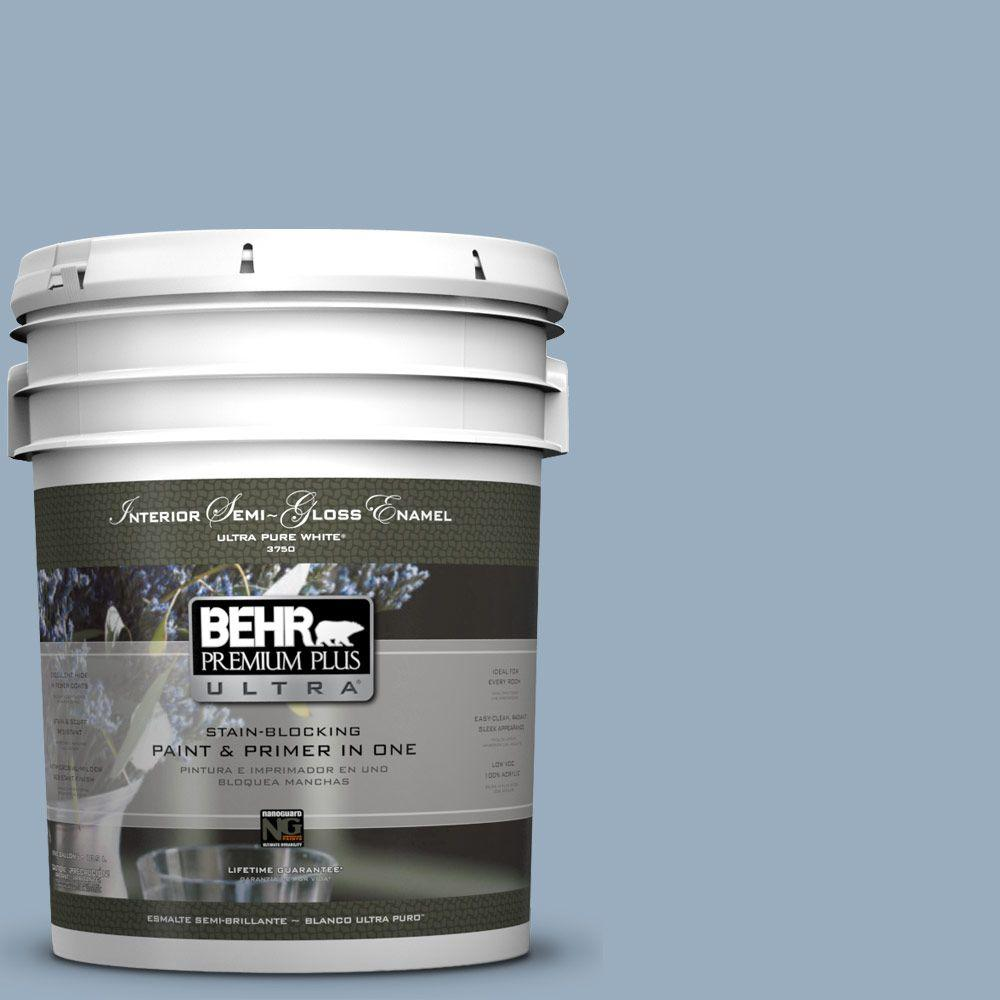 BEHR Premium Plus Ultra 5-gal. #S510-3 Ombre Blue Semi-Gloss Enamel Interior Paint