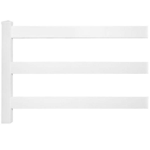 4 ft. H x 8 ft. W 3-Rail Vinyl Fence Panel EZ Pack