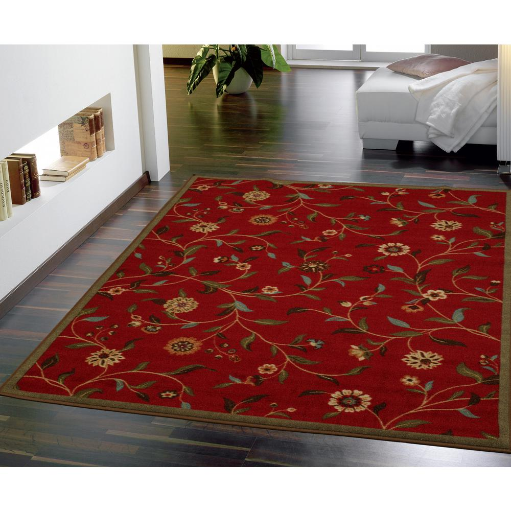 Ottomanson Traditional Floral Design Dark Red 2 Ft X 7 Ft: Ottomanson Ottohome Collection Contemporary Floral Design