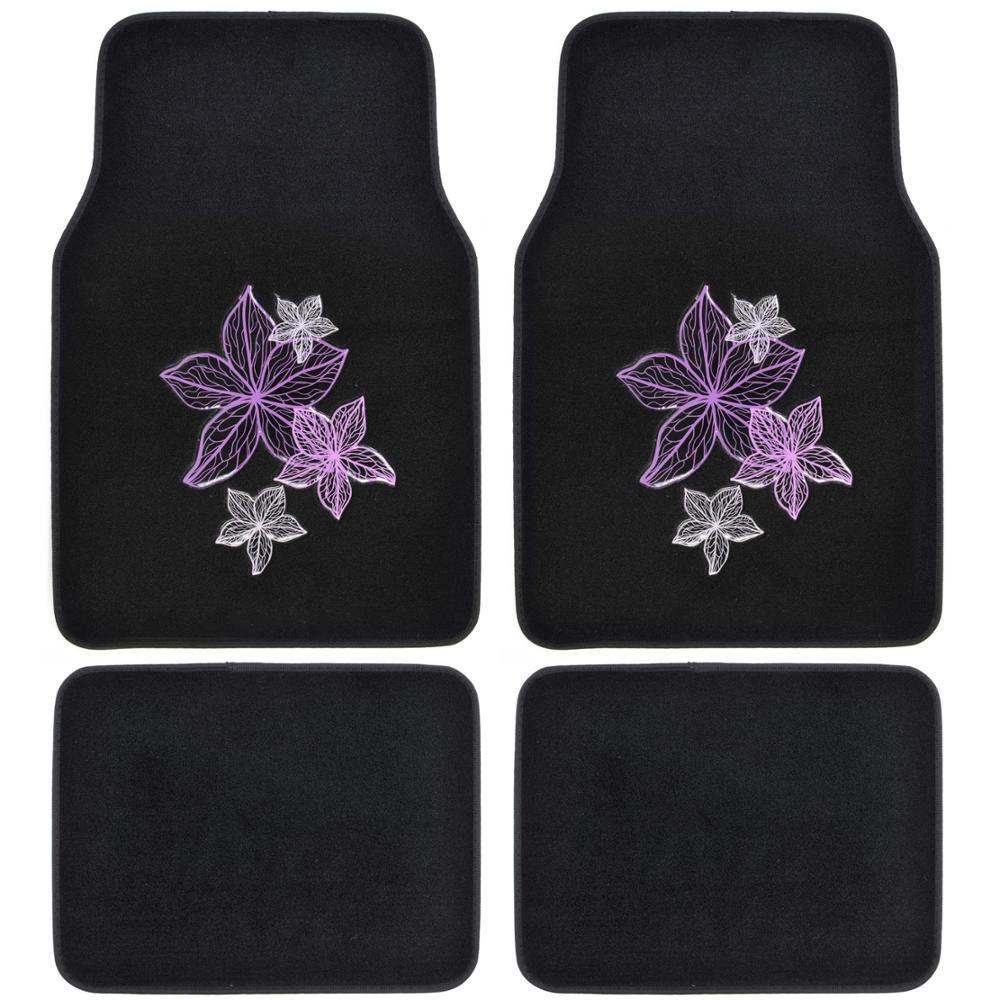 BDK Flower Line Art MT-538 Design 4 Pieces Carpet Car Floor Mats by BDK