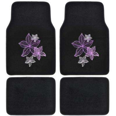 Flower Line Art MT-538 Design 4 Pieces Carpet Car Floor Mats