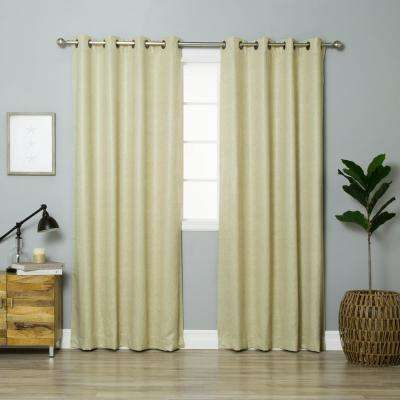 Beige 84 in. L Faux Leather Blackout Curtain (2-Pack)
