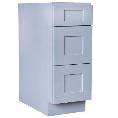 Ready to Assemble Shaker 12 in. W x 21 in. D x 34.5 in. H Vanity Cabinet with 3 Drawers in Gray