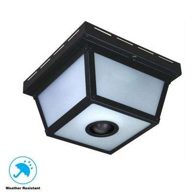 360° Square 4-Light Black Motion Sensing Outdoor Flush Mount