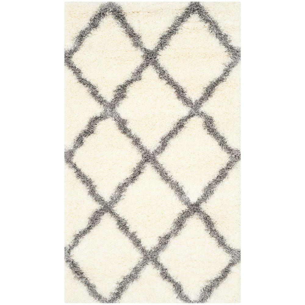 Montreal Shag Ivory/Grey 3 ft. x 5 ft. Area Rug