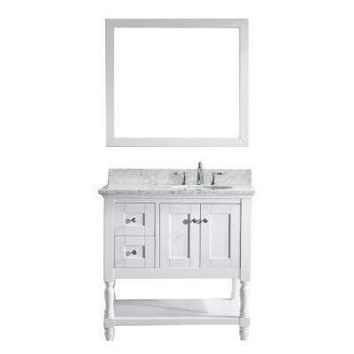 Julianna 36 in. W Bath Vanity in White with Marble Vanity Top in White with Round Basin and Mirror
