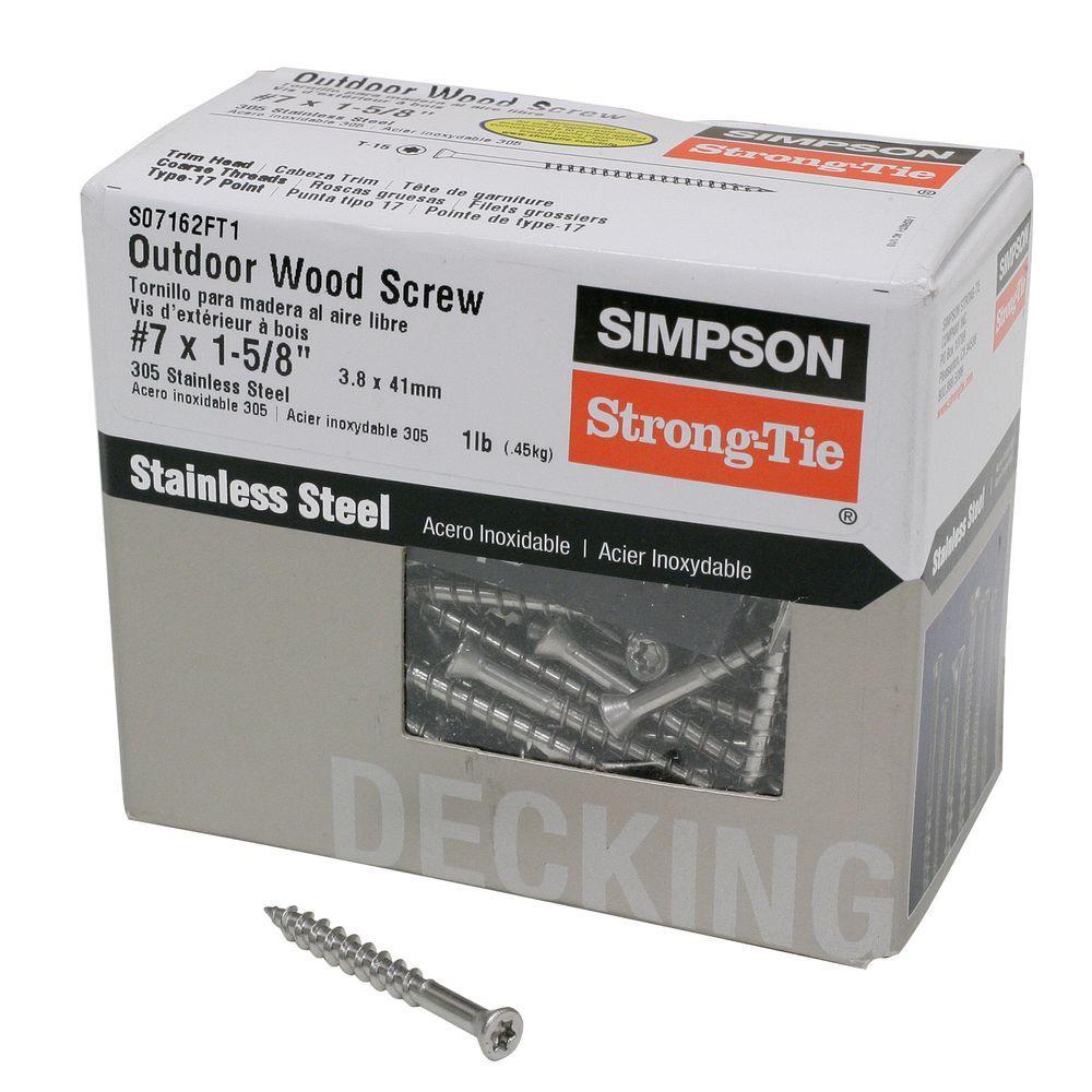 #7 1-5/8in. 6-Lobe Trim-Head 305 Stainless Steel Wood Decking Screw (1 lb. -Pack)